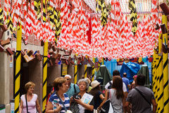 Διακοσμήσεις φεστιβάλ Gracia στη Βαρκελώνη Στοκ φωτογραφία με δικαίωμα ελεύθερης χρήσης