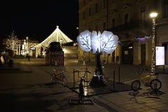 Διακοσμήσεις Χριστουγέννων οδών σε Cluj-Napoca, Romanua στοκ φωτογραφίες