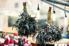Διακοσμήσεις Χριστουγέννων στην αγορά Εγκαταστάσεις β γκι Χριστουγέννων Στοκ Φωτογραφίες