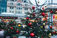 Διακοσμήσεις Χριστουγέννων στη Μόσχα Στοκ Φωτογραφία