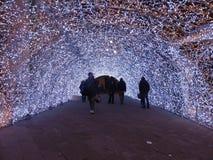 Διακοσμήσεις Χριστουγέννων στους δρόμους στη Γένοβα στοκ φωτογραφία
