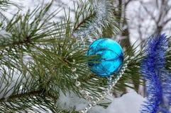 Διακοσμήσεις Χριστουγέννων στο δέντρο στο χειμερινό ξύλο Στοκ φωτογραφίες με δικαίωμα ελεύθερης χρήσης