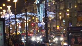 Διακοσμήσεις Χριστουγέννων στο Nevsky Prospekt στη Αγία Πετρούπολη 4K απόθεμα βίντεο