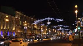 Διακοσμήσεις Χριστουγέννων στο Nevsky Prospekt στη Αγία Πετρούπολη 4K φιλμ μικρού μήκους