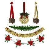 Διακοσμήσεις Χριστουγέννων, σχέδια, γιρλάντες, παιχνίδια καθορισμένα Στοκ Εικόνες
