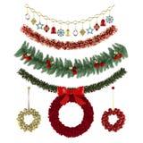 Διακοσμήσεις Χριστουγέννων, σχέδια, γιρλάντες, παιχνίδια καθορισμένα Στοκ Φωτογραφία