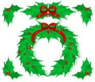 Διακοσμήσεις Χριστουγέννων της Holly καθορισμένες Στοκ Εικόνες