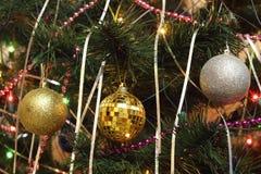 Διακοσμήσεις Χριστουγέννων: τρεις σφαίρες που τίθενται στο έλατο Στοκ Φωτογραφίες