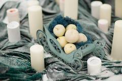 Διακοσμήστε τα κεριά με τα χειμερινά λουλούδια και το χιόνι στοκ εικόνες