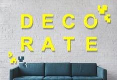 Διακοσμήστε τη σύγχρονη έννοια σχεδίου δωματίων ζωντανός κατ' οίκον στοκ εικόνα