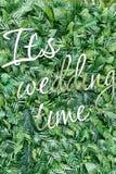 Διακοσμήστε το σκηνικό τοίχων του τεχνητού φύλλου και των λαμπρών επιστολών Είναι γαμήλιος χρόνος στοκ φωτογραφία με δικαίωμα ελεύθερης χρήσης