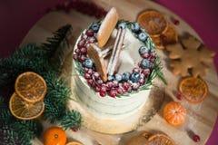 Διακοσμημένα κέικ Χριστουγέννων με το μελόψωμο Στοκ Φωτογραφία