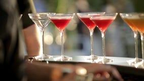 Διακοσμημένα οινοπνευματώδη ποτά απόθεμα βίντεο