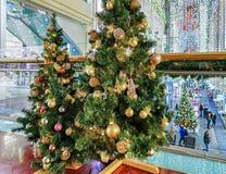 Διακοσμημένα χριστουγεννιάτικα δέντρα σε Galerija Centrs στην παλαιά Ρήγα Λετονία Στοκ φωτογραφία με δικαίωμα ελεύθερης χρήσης