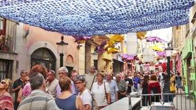 Διακοσμημένες οδοί της περιοχής Gracia απόθεμα βίντεο