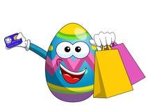 Διακοσμημένες τσάντες αγορών αυγών Πάσχας μασκότ και πιστωτική κάρτα isolat Στοκ Εικόνα