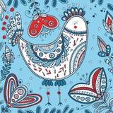 Διακοσμημένη απεικόνιση πουλιών στο εθνικό ύφος boho Στοκ εικόνες με δικαίωμα ελεύθερης χρήσης