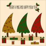 Διακοσμημένη απεικόνιση χριστουγεννιάτικων δέντρων απεικόνιση αποθεμάτων