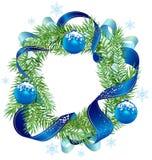 Διακοσμημένη στεφάνι κορδέλλα Χριστουγέννων και μπλε σφαίρες διανυσματική απεικόνιση