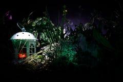 Διακοσμημένη φαντασία φωτογραφία Μικρό όμορφο σπίτι στη χλόη με το φως Παλαιό σπίτι στο δάσος τη νύχτα με το φεγγάρι Εκλεκτική εσ Στοκ εικόνα με δικαίωμα ελεύθερης χρήσης