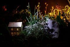 Διακοσμημένη φαντασία φωτογραφία Μικρό όμορφο σπίτι στη χλόη με το φως Παλαιό σπίτι στο δάσος τη νύχτα με το φεγγάρι Εκλεκτική εσ Στοκ Εικόνες