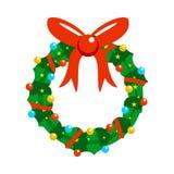 Διακοσμημένη Χριστουγέννων κινούμενων σχεδίων πλήρως γιρλάντα ελεύθερη απεικόνιση δικαιώματος