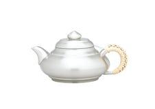 Διακοσμημένη Teapot λαβή με το υφαμένο μπαμπού Στοκ φωτογραφία με δικαίωμα ελεύθερης χρήσης
