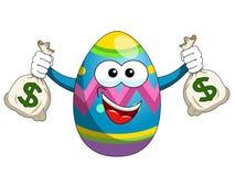 Διακοσμημένοι σάκοι εκμετάλλευσης αυγών Πάσχας μασκότ των χρημάτων που απομονώνονται Στοκ εικόνες με δικαίωμα ελεύθερης χρήσης