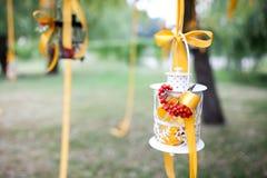 διακοσμημένος κεριά γάμο& Στοκ Εικόνα