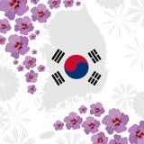 Διακοσμημένος με τα hibiscuses νοτιοκορεατικός χάρτης ελεύθερη απεικόνιση δικαιώματος