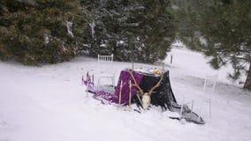 Διακοσμημένος πίνακας στο γοτθικό ύφος στη ισχυρή χιονόπτωση απόθεμα βίντεο