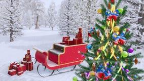 Διακοσμημένο έλκηθρο χριστουγεννιάτικων δέντρων και santa 4K ελεύθερη απεικόνιση δικαιώματος