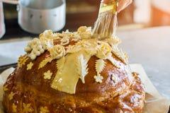 Διακοσμημένο αφές ψωμί βουρτσών Στοκ Φωτογραφία