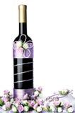 Διακοσμημένο γαμήλιο μπουκάλι με τα τριαντάφυλλα, που απομονώνονται στο άσπρο backgroun Στοκ εικόνες με δικαίωμα ελεύθερης χρήσης