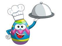 Διακοσμημένο καπέλο μαγείρων αυγών Πάσχας μασκότ και ασημένιος δίσκος που απομονώνονται Στοκ Εικόνες