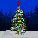 Διακοσμημένο κινούμενα σχέδια χριστουγεννιάτικο δέντρο στο χειμερινό δάσος Στοκ φωτογραφία με δικαίωμα ελεύθερης χρήσης