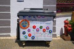 Διακοσμημένο δοχείο απορριμμάτων, Angra, Terceira, Αζόρες Στοκ φωτογραφίες με δικαίωμα ελεύθερης χρήσης