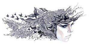 Διακοσμημένο περίληψη πρόσωπο γυναικών διανυσματική απεικόνιση