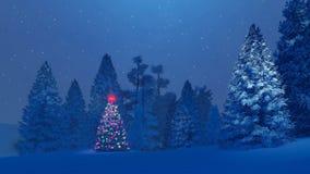 Διακοσμημένο χριστουγεννιάτικο δέντρο μεταξύ του χιονώδους δάσους έλατου τη νύχτα διανυσματική απεικόνιση