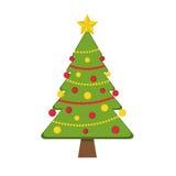 Διακοσμημένο χριστουγεννιάτικο δέντρο με τις γιρλάντες και ελεύθερη απεικόνιση δικαιώματος