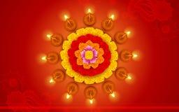 Διακοσμημένο Diwali Diya στο λουλούδι Rangoli διανυσματική απεικόνιση