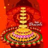 Διακοσμημένο diya για το ευτυχές υπόβαθρο Diwali ελεύθερη απεικόνιση δικαιώματος