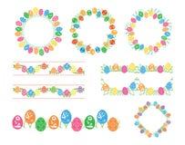 Διακοσμητικά διανυσματικά πλαίσια και σύνορα με τα χρωματισμένα αυγά για τις διακοπές Πάσχας απεικόνιση αποθεμάτων