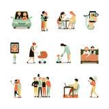 Διακοσμητικά εικονίδια εθισμού Διαδικτύου καθορισμένα διανυσματική απεικόνιση