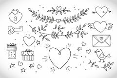Διακοσμητικά εκλεκτής ποιότητας στοιχεία αγάπης στο άσπρο υπόβαθρο Συρμένη χέρι συλλογή με την καρδιά, φτερά, κλάδος με τα φύλλα, στοκ φωτογραφίες