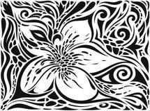 Διακοσμητικά λουλούδια στο μαύρο & άσπρο, Floral διακοσμητικό περίκομψο γραφικό σχέδιο δερματοστιξιών υποβάθρου διανυσματική απεικόνιση