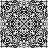 Διακοσμητικά λουλούδια στο μαύρο & άσπρο, Floral διακοσμητικό περίκομψο υποβάθρου σχέδιο mandala δερματοστιξιών γραφικό απεικόνιση αποθεμάτων