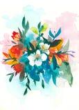 διακοσμητικά λουλούδια watercolor floral απεικόνιση, φύλλο και οφθαλμοί Βοτανική σύνθεση για το γάμο ή τη ευχετήρια κάρτα ελεύθερη απεικόνιση δικαιώματος