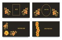Διακοσμητικά πρότυπα για τις προσκλήσεις, το χαιρετισμό, τις κάρτες επίσκεψης και τις αποδείξεις στο floral ύφος khokhloma με το  Στοκ εικόνα με δικαίωμα ελεύθερης χρήσης