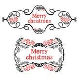 Διακοσμητικά στοιχεία σχεδίου Χαρούμενα Χριστούγεννας Στοκ φωτογραφία με δικαίωμα ελεύθερης χρήσης